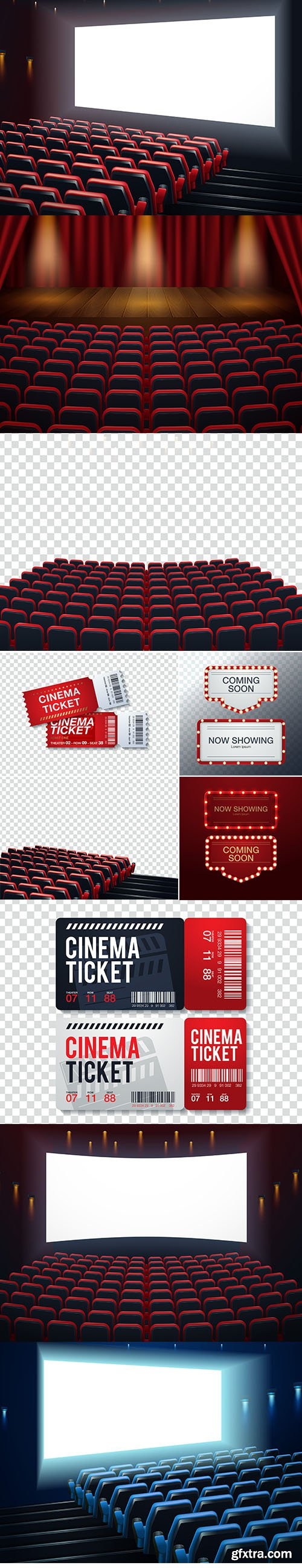 Vector Set of Interior Cinema, Movie, Theatre Backgrounds and Ticket Illustration