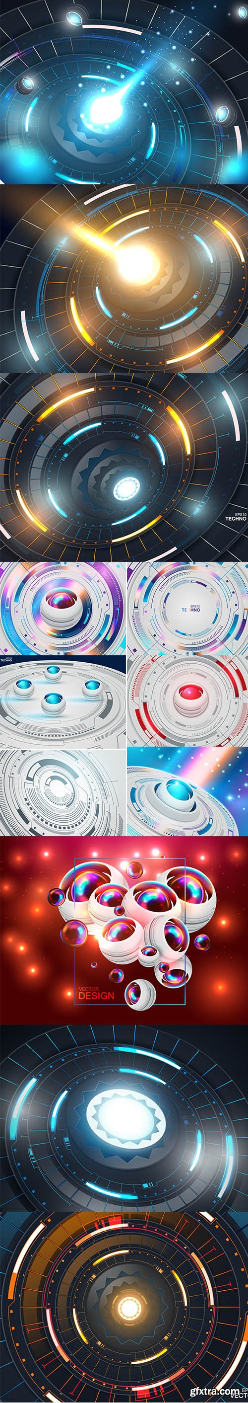 Futuristic Abstract High Computer Technology Illustrations