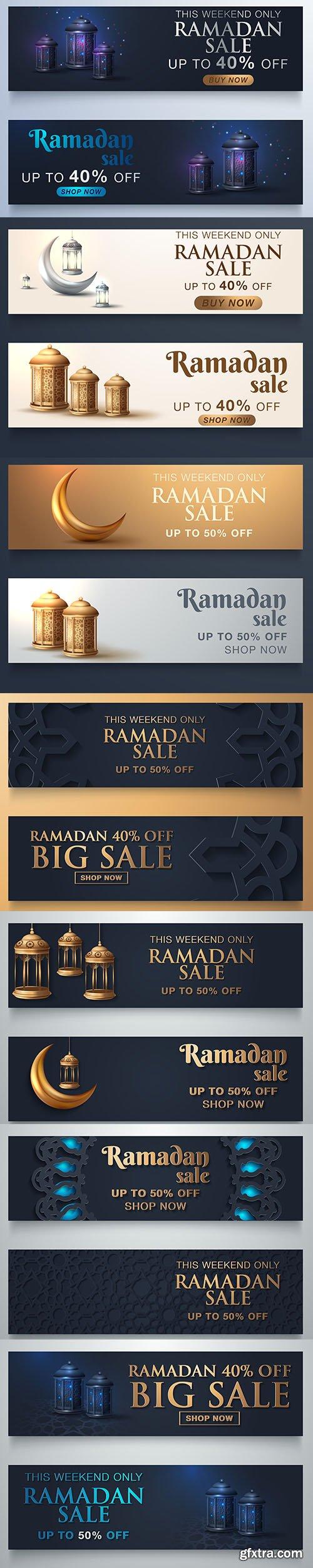 Arabic Elegant Sale Banner Illustration Set