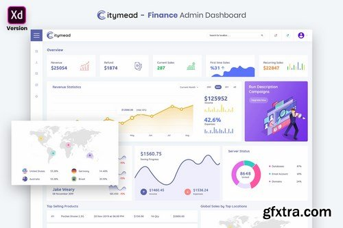 Finance Admin Dashboard UI Kit (XD)