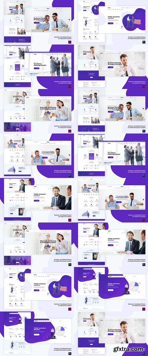 Business & Finance for Adobe Photoshop and XD templates Pack