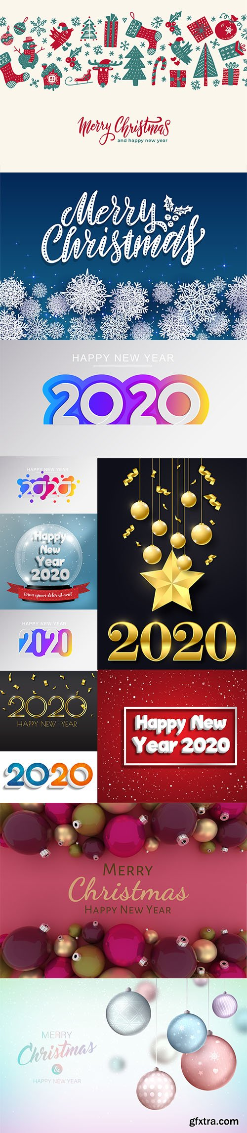 Merry Christmas and New Year 2020 Vector Illustrations Pack Vol 2
