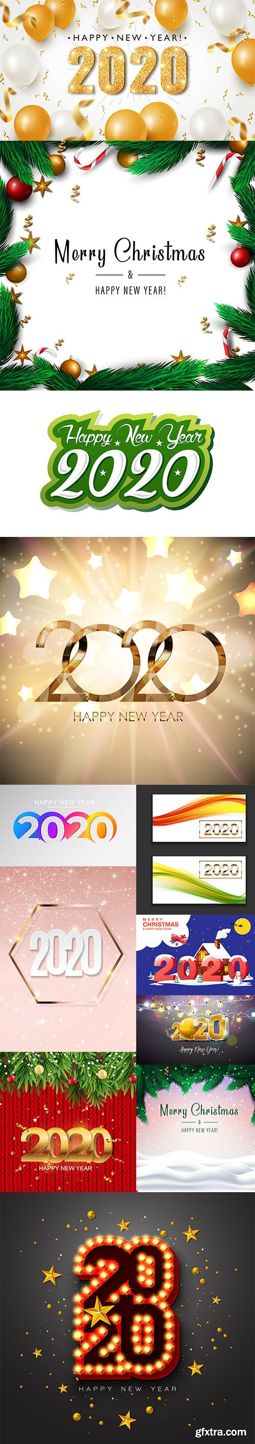 Merry Christmas and New Year 2020 Vector Illustrations Pack Vol 4