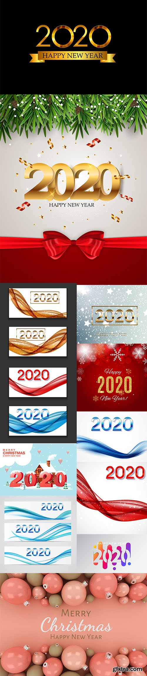 Merry Christmas and New Year 2020 Vector Illustrations Pack Vol 3