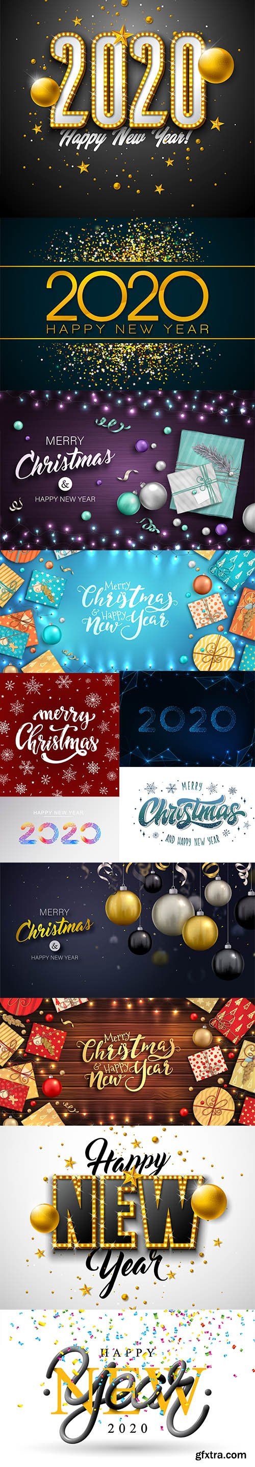 Merry Christmas and New Year 2020 Vector Illustrations Pack