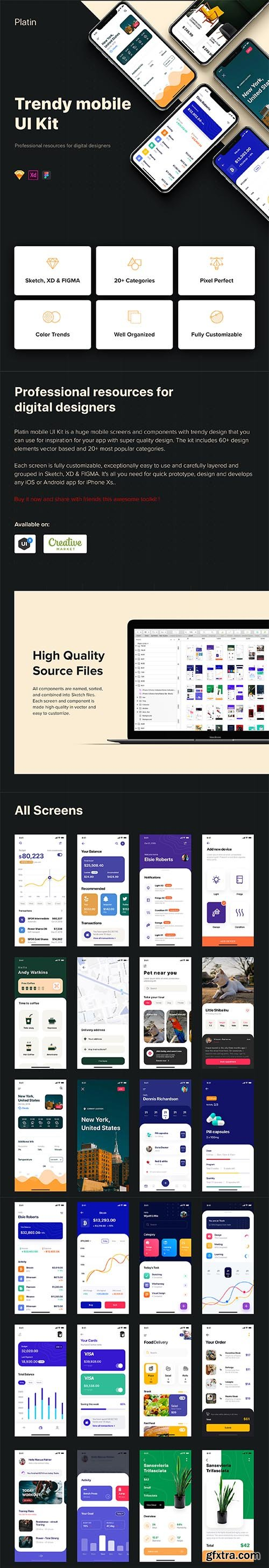 Platin mobile UI Kit