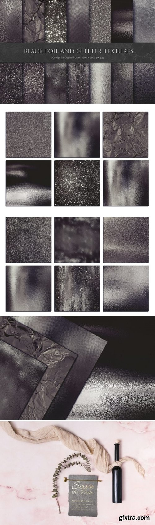 Black Foil and Glitter Textures 892011