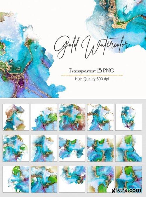 Transparent Gold Watercolor Textures 1354814