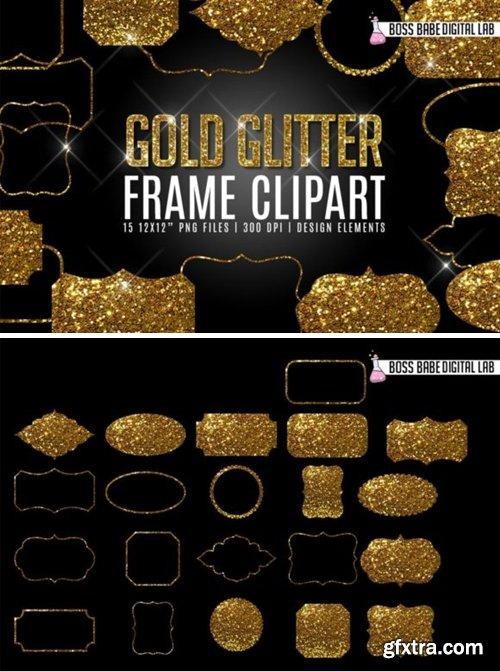 Gold Glitter Frame Clipart 2000630