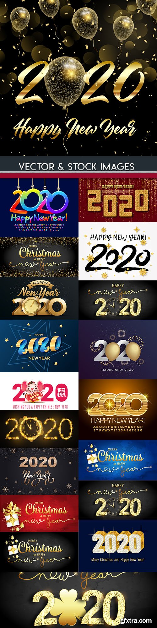 New Year and Christmas decorative 2020 illustration 6