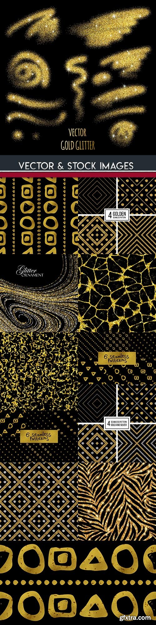 Gold glitter abstract design seamless pattern