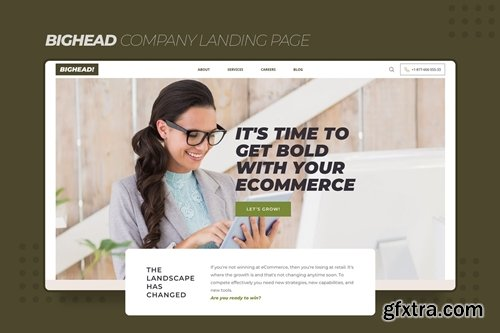 Bighead Company Landing Page Sketch Template