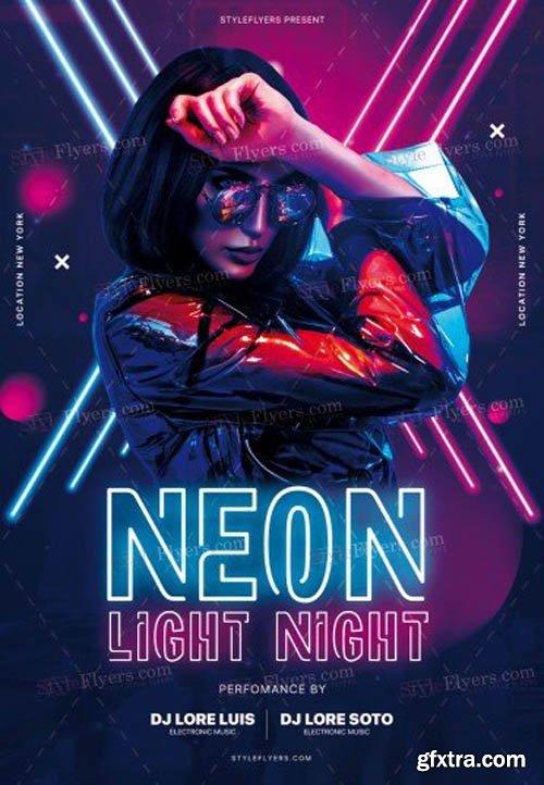 Neon Light Night V0911 2019 PSD Flyer Template