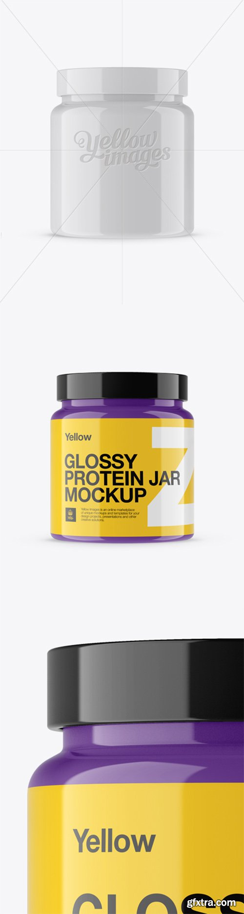 Glossy Protein Jar Mockup - Front View 13770
