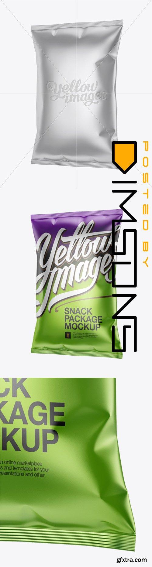 Matte Metallic Snack Package Mockup - Halfside view 13933