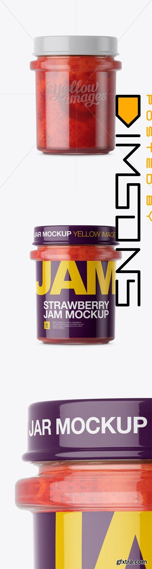 Glass Strawberry Jam Jar Mockup - Front View 13907