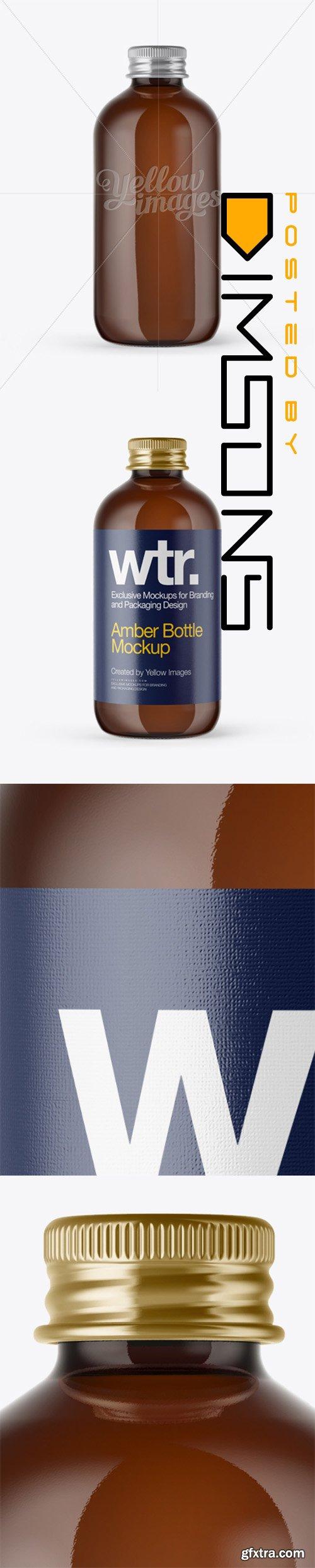 Amber Glass Bottle w/ Metal Cap Mockup 14051