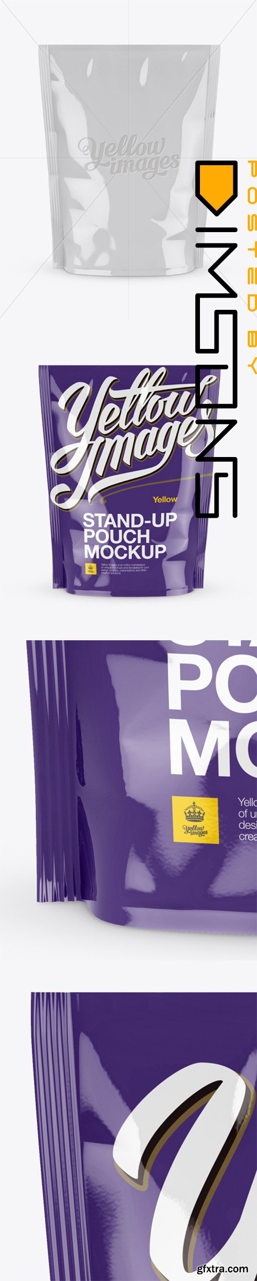 Glossy Stand-up Pouch Mockup - Front View 14093