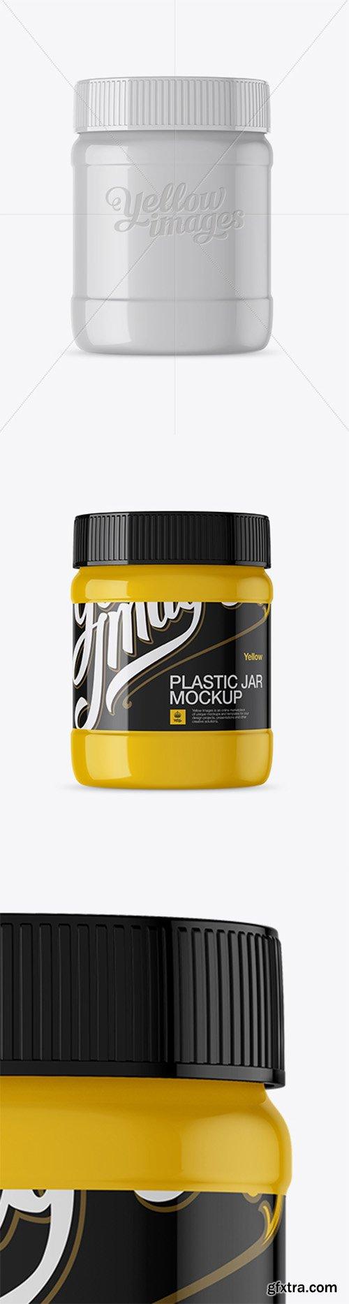 Glossy Plastic Jar Mockup - Front View 14142
