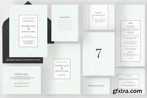 Modern Sketch Invitation Suite