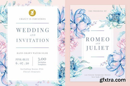 Floral Hand-drawn Watercolor Wedding Invitation Pack