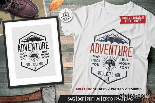 Adventure Logo Design, Camping Retro Hiking TShirt