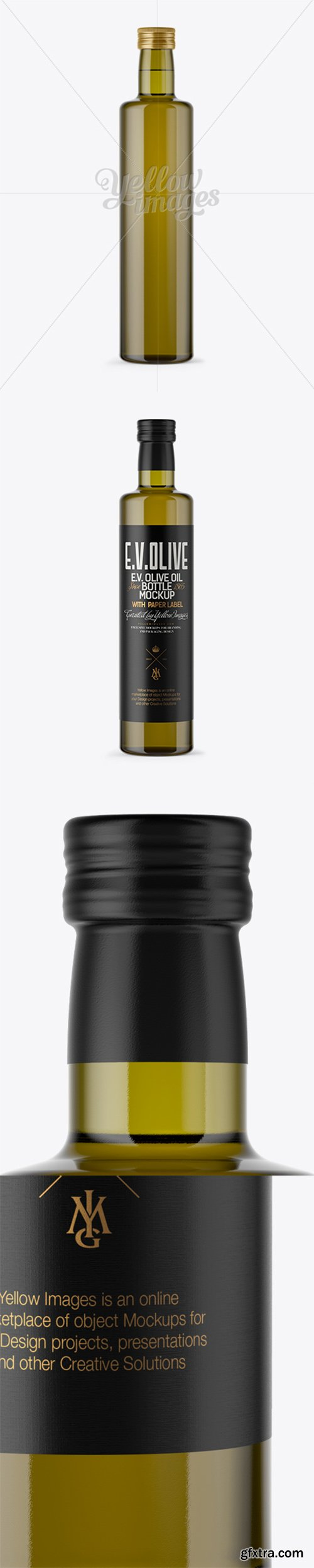 750ml Antique Green Glass Bottle with Olive Oil Mockup 14213