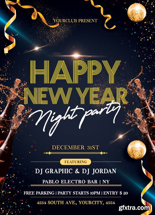 New Year Night Party - Premium flyer psd template