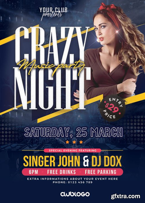 Crazy Night Party - Premium flyer psd template