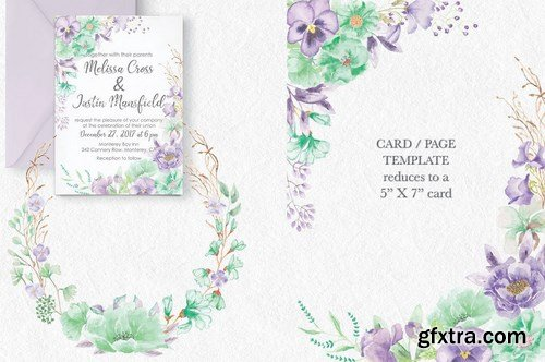 Violet and Mint Watercolor Clip Art Collection