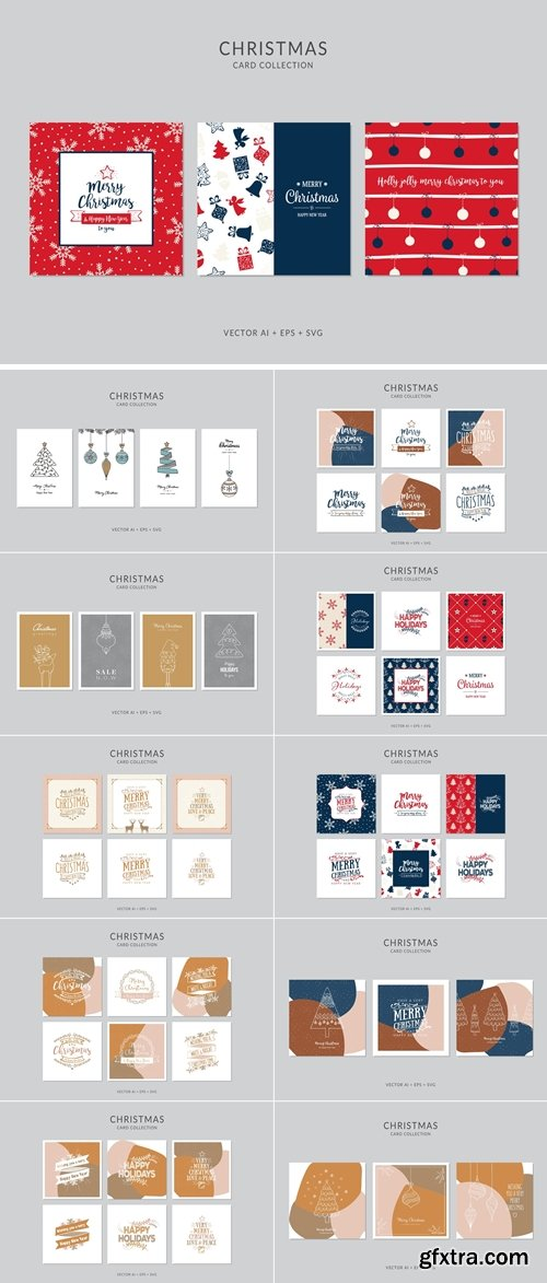 Christmas Greeting Card Vector Set 3