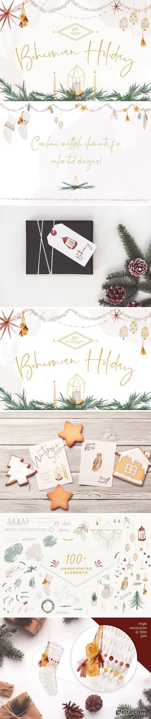 Boho Holiday Watercolor Kit