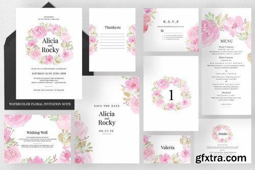 Watercolour Floral Invitation Suite