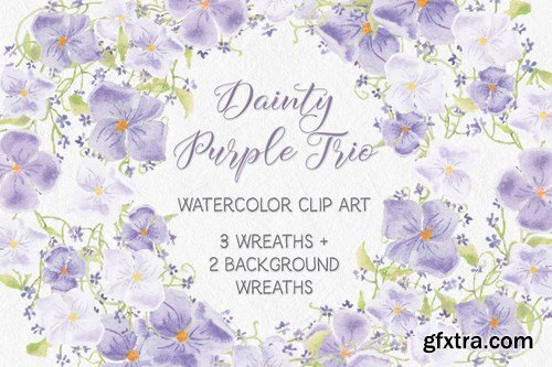 Trio of Watercolor Floral Wreaths in Purple Shades