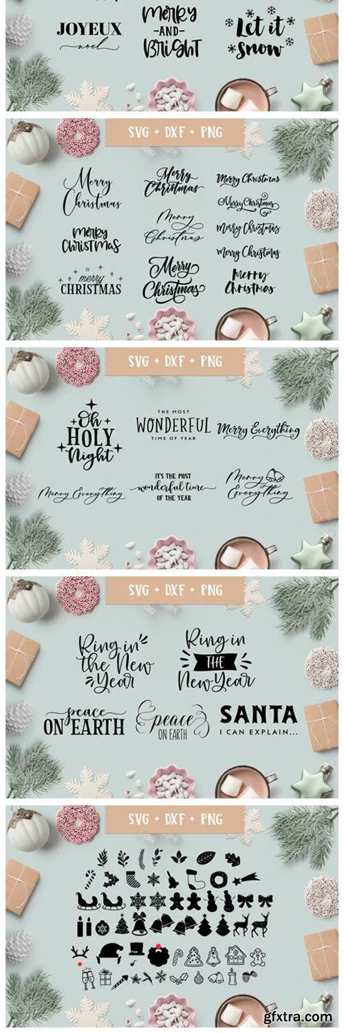 Christmas/Holiday Quotes SVG Bundle 2012477