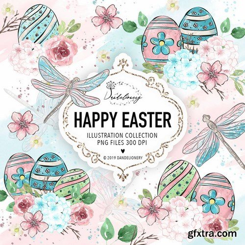 Happy Easter dragonfly design
