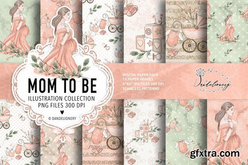 Mom to be Maternity digital paper pack