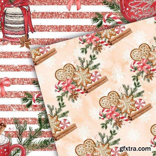 Gingerbread Watercolor digital paper pack