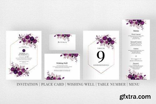 Wedding Invitation Suite - Burgundy
