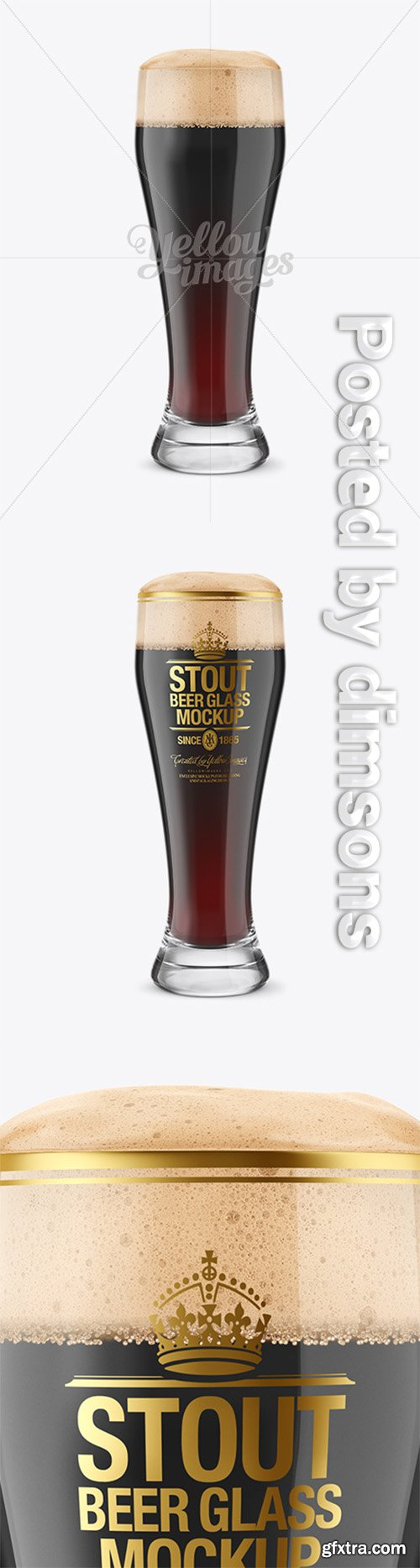 Weizen Glass with Stout Beer Mockup 14709