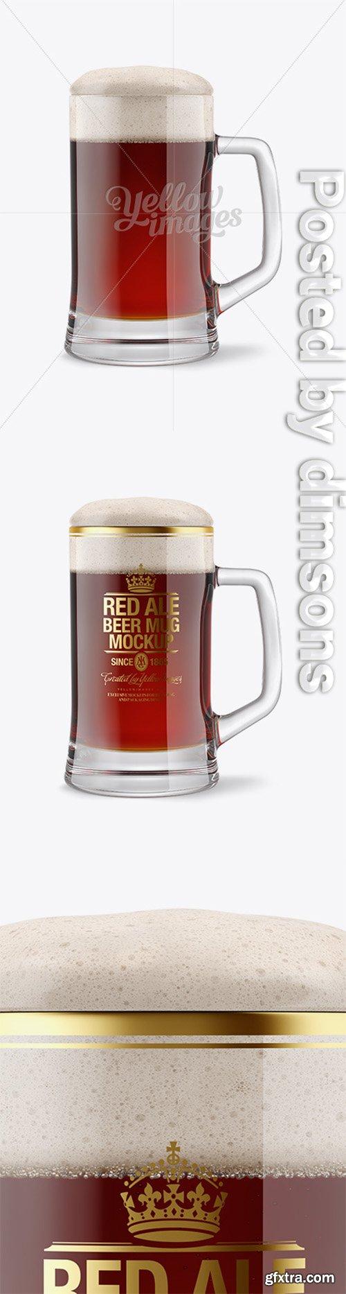Tankard Glass Mug with Red Ale Beer Mockup 14665