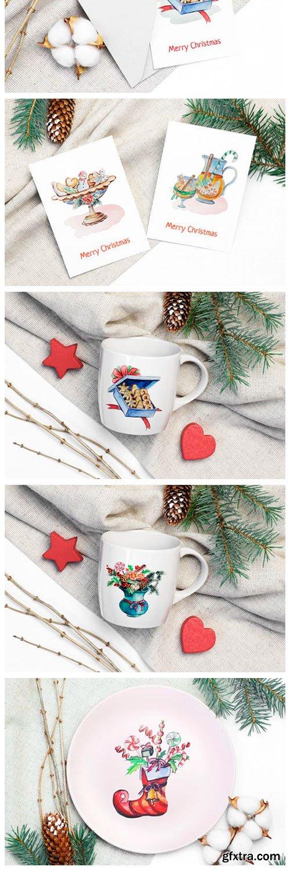 Christmas Watercolor Food Decoration 2023494