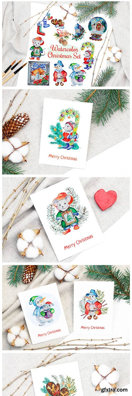 Christmas Watercolor Characters Set 2028906