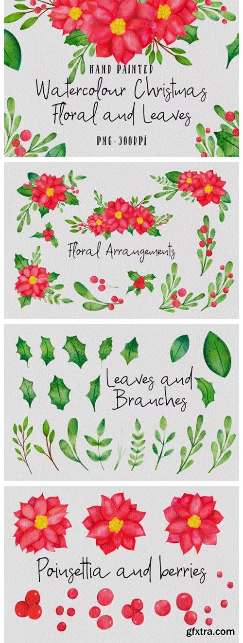 Christmas Watercolor Floral Set 2029102