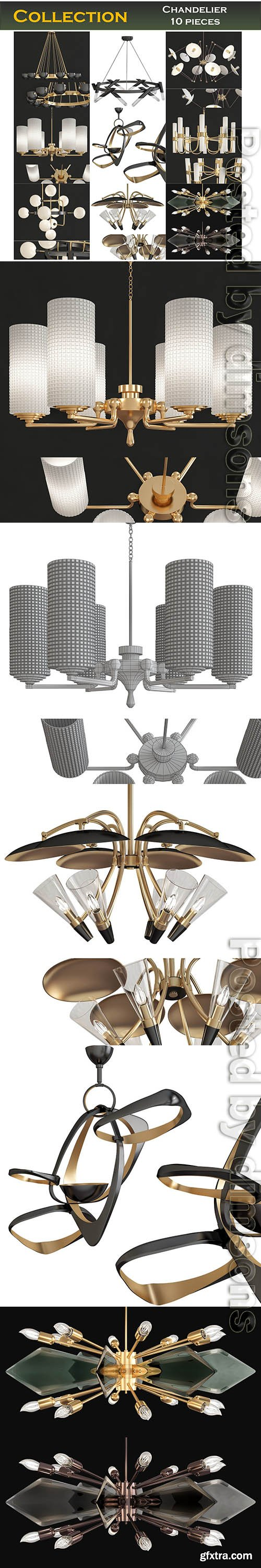Cgtrader - Chandeliers 3d models Collection 10 models Low-poly 3D model
