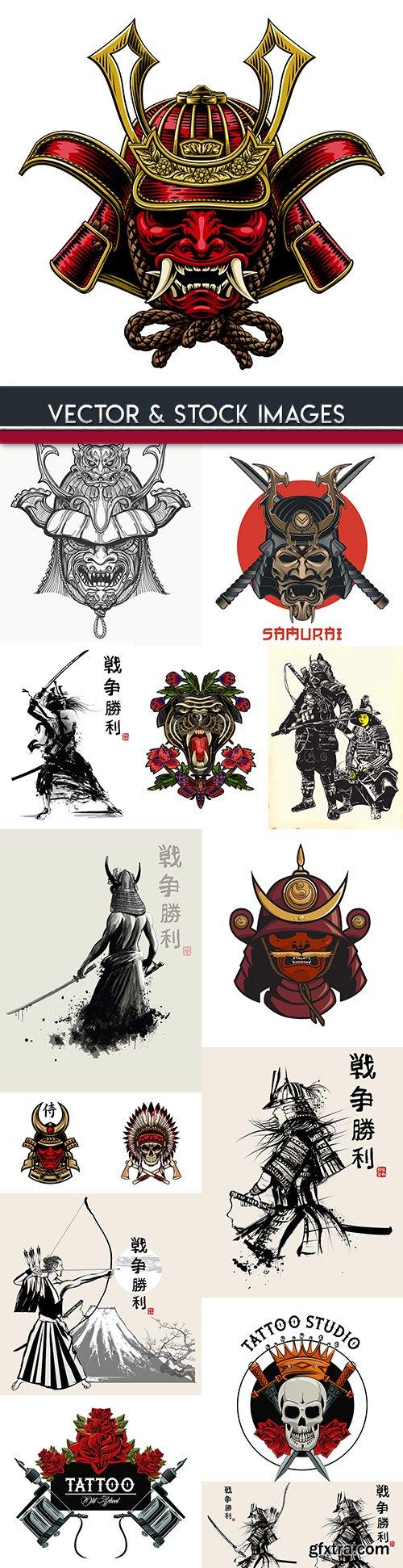 Samurai Japanese and skull vintage design tattoo
