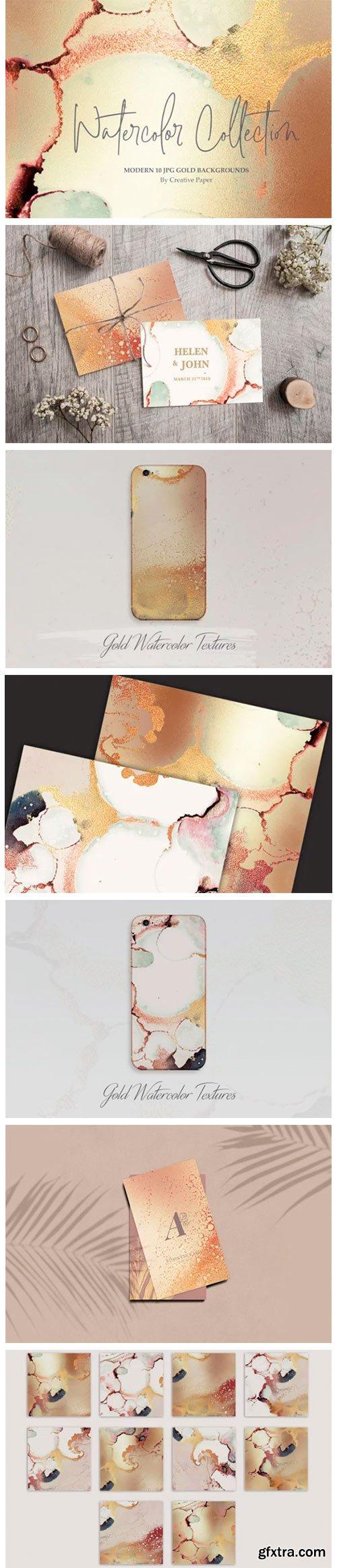 Gold Ink + Watercolor Foil Textures 2061689