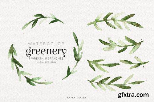 Watercolor greenery