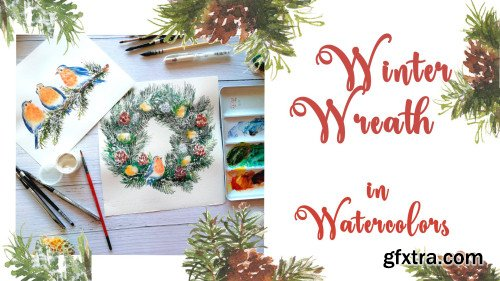 Winter Wreath in Watercolors: ideas for holiday cards