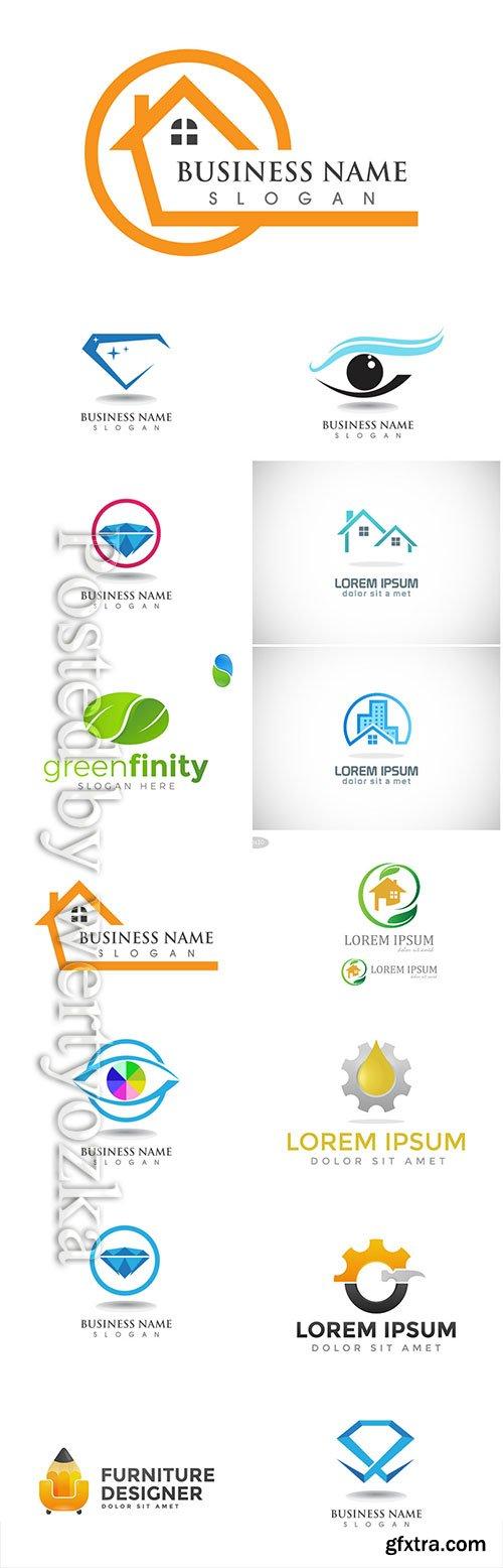 Logos set, business vector # 9